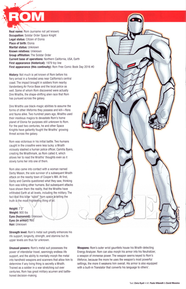 Rom biography from IDW Publishing