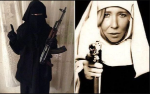 Sally Jones, wearing a burqa, and masquerading as a gun-toting nun.png